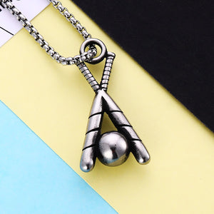 GUNGNEER Baseball Bat Ball Necklace Stainless Steel Charm Chain Jewelry For Men Women