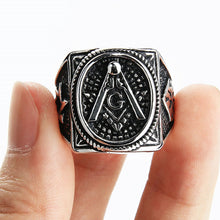 Load image into Gallery viewer, GUNGNEER Masonic Ring Multi-size Freemason Symbol Stainless Steel Jewelry For Men