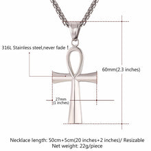 Load image into Gallery viewer, GUNGNEER Pyramid Ankh Egyptian Cross Pendant Charm Necklace Twisted Cuff Bangle Jewelry Set