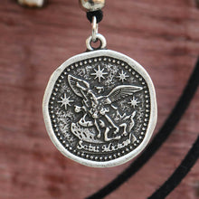 Load image into Gallery viewer, GUNGNEER Black Rope Chain St Michael Seal Necklace Women's Men's Jewelry Accessory