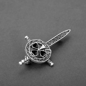 GUNGNEER Celtic Knots Trinity Love Stainless Steel Hair Pin Brooch Jewelry for Women
