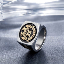 Load image into Gallery viewer, GUNGNEER Men's Mason Double Eagle Ring Stainless Steel Master Mason Accessories