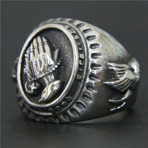 GUNGNEER Christian Pray Ring Stainless Steel Jesus Jewelry Accessory Gift For Men