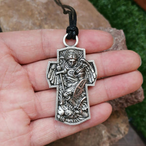 GUNGNEER St Michael Cross Necklace Black Rope Chain Protection Jewelry For Men Women