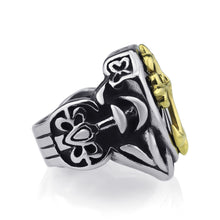Load image into Gallery viewer, GUNGNEER Stainless Steel Gold Knights Templar Cross Ring with Curb Chain Bracelet Jewelry Set