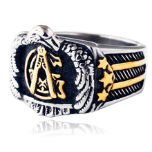 Load image into Gallery viewer, GUNGNEER Men's Freemason Ring Stainless Steel Biker Mason Signet Jewelry