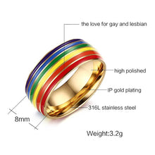 Load image into Gallery viewer, GUNGNEER Stainless Steel Gay Lesbian Pride Ring LGBT Jewelry Accessory For Men Women