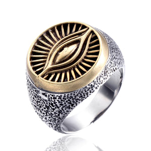 GUNGNEER Multi-size Men's Eye of Providence Ring Eye Of Horus Biker Rings Jewelry
