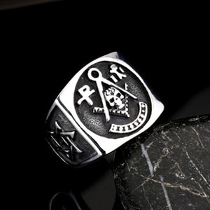 GUNGNEER Team Skull Masonic Ring Stainless Steel Freemason Biker Accessory For Men
