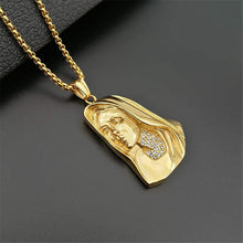 Load image into Gallery viewer, GUNGNEER Stainless Steel Iced Out Crystal Mother Virgin Mary Pendant Necklace Jewelry