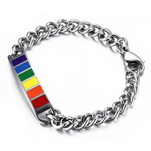 GUNGNEER Pride Bracelet Stainless Steel Gay Lesbian Bisexual LGBT Jewelry For Men Women