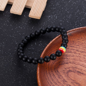 GUNGNEER Rainbow Beaded Bracelet Lesbian Gay LGBT Jewelry Accessory For Men Women