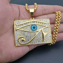 Load image into Gallery viewer, GUNGNEER Pyramid Egyptian Eye of Horus Necklace Link Chain Bracelet Stainless Steel Jewelry Set