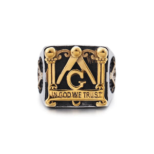 GUNGNEER Square Face Masonic Ring Multi-size In God We Trust Freemason Jewelry For Men