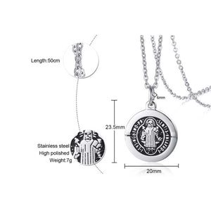 GUNGNEER Stainless Steel Saint Benedict Medal Pendant Necklace with Bracelet Jewelry Set
