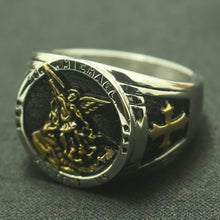 Load image into Gallery viewer, GUNGNEER Cross St Michael Protect Us Ring Many Sizes Stainless Steel Jewelry For Men