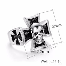 Load image into Gallery viewer, GUNGNEER 2 Pcs Gothic Skull Biker Templar Cross Ring Punk Skeleton Jewelry Set Men Women