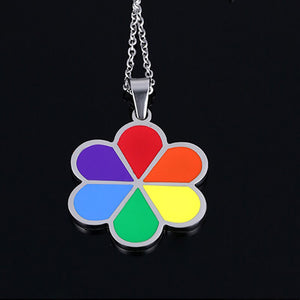 GUNGNEER Pride Necklace Stainless Steel Gay Lesbian Flower Pendant Jewelry For Men Women