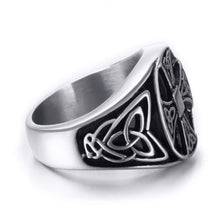 Load image into Gallery viewer, GUNGNEER Stainless Steel Triquetra Celtic Cross Ring Pendant Necklace Jewelry Set Men Women