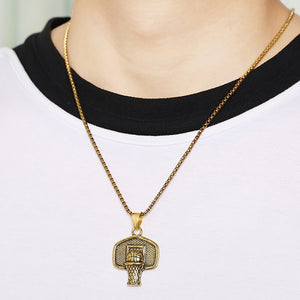 GUNGNEER Basketball Necklace Stainless Steel Rim Pendant Chain Jewelry For Boys Girls