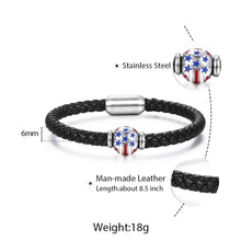 Load image into Gallery viewer, GUNGNEER Women Men Black Leather Braided Rope USA American Flag Heart Bracelet Charm Jewelry