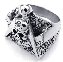 Load image into Gallery viewer, GUNGNEER Skull Masonic Ring Multi-size Stainless Steel Freemasonry Symbol Accessory For Men