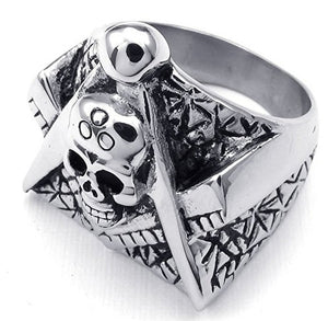 GUNGNEER Stainless Steel Skull Masonic Ring For Men Black Dog Tag Necklace Jewelry Set