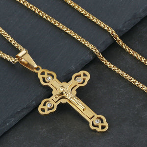 GUNGNEER Stainless Steel Christian Cross Pendant Necklace Jesus Chain Jewelry For Men Women