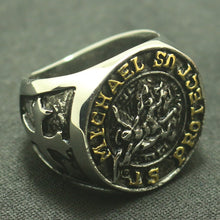 Load image into Gallery viewer, GUNGNEER The Archangel Protect Us St Michael Ring Stainless Steel Jewelry For Men