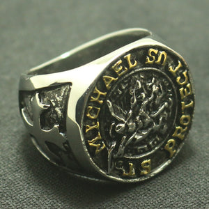 GUNGNEER The Archangel Protect Us St Michael Ring Stainless Steel Jewelry For Men