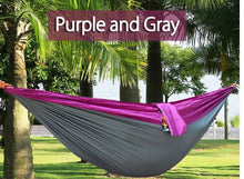 Load image into Gallery viewer, 2TRIDENTS Nylon Camping Hammock - Lightweight Portable Hammock, Parachute Double Hammock for Backpacking, Camping, Travel, Beach, Yard (Purple+ Grey)