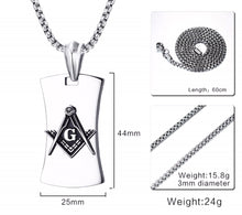 Load image into Gallery viewer, GUNGNEER Mason Dog Tag Masonic Pendant Necklace Silicone Black Ring Jewelry Set