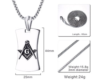 GUNGNEER Mason Dog Tag Masonic Pendant Necklace Silicone Black Ring Jewelry Set
