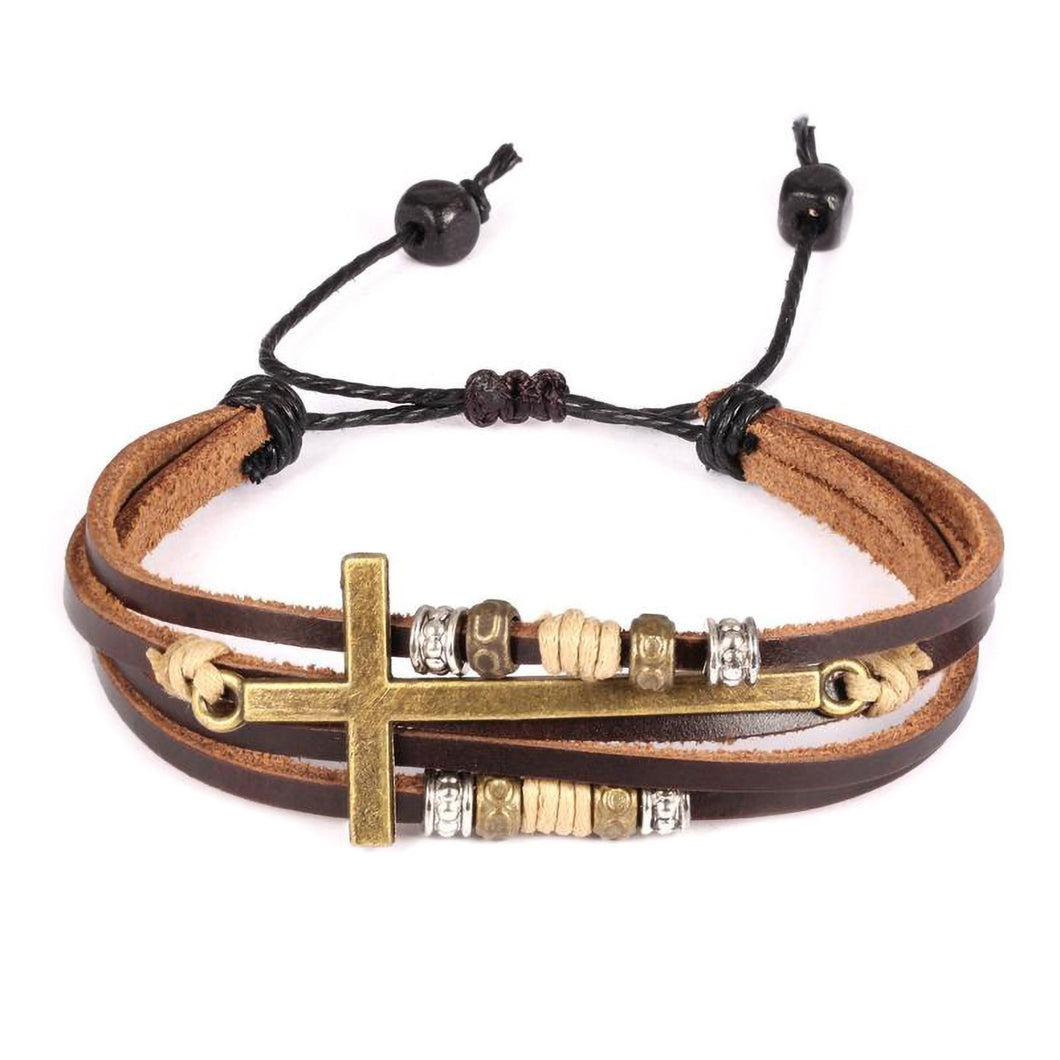 GUNGNEER Jesus Cross Bracelet Multilayer Leather Christian Jewelry Accessory For Men Women