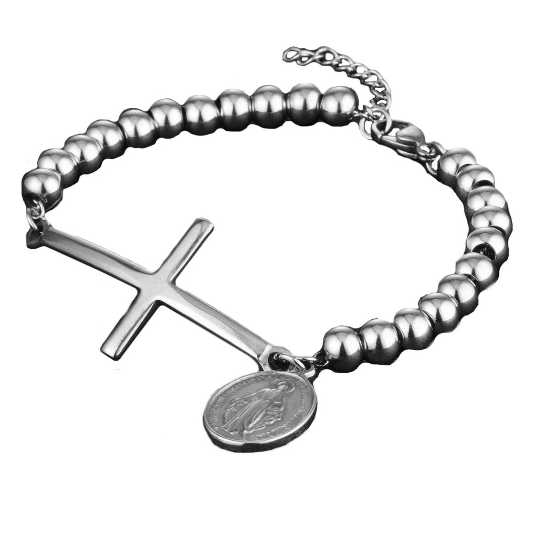 GUNGNEER Stainless Steel Women's Cross Bracelet Christ Jewelry Accessory Gift For Girl