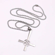 Load image into Gallery viewer, GUNGNEER Stainless Steel Pentagram Inverted Cross Necklace Bracelet Jewelry Set