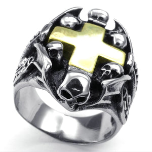 GUNGNEER Stainless Steel Goldtone Skull Knight Templar Cross Ring with Bracelet Punk Jewelry Set