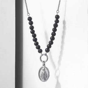 GUNGNEER Stainless Steel Virgin Mary Pendant Necklace Lava Bead Chain Christian Jewelry