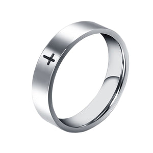 GUNGNEER Stainless Steel Christian Cross Ring God Jesus Jewelry Accessory Gift For Men