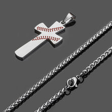 Load image into Gallery viewer, GUNGNEER Baseball Cross Necklace Sporty Stainless Steel Jewelry Accessory For Men Women