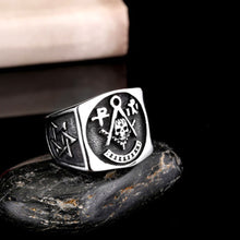 Load image into Gallery viewer, GUNGNEER Team Skull Masonic Ring Stainless Steel Freemason Biker Accessory For Men