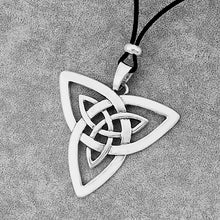 Load image into Gallery viewer, GUNGNEER Celtic Irish Triquetra Trinity Knot Pendant Necklace Stainless Steel Jewelry Men Women