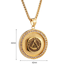 Load image into Gallery viewer, GUNGNEER Masonic Pendant Necklace Double-headed Eagle Ring Jewelry Set Gift Accessory