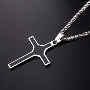 GUNGNEER Christian Necklace Stainless Steel Cross Pendant Chain Jewelry For Men Women