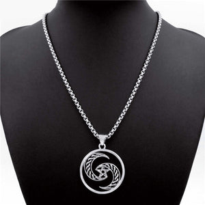 GUNGNEER Crescent Moon Pentagram Wicca Stainless Steel Pendant Necklace Band Ring Jewelry Set