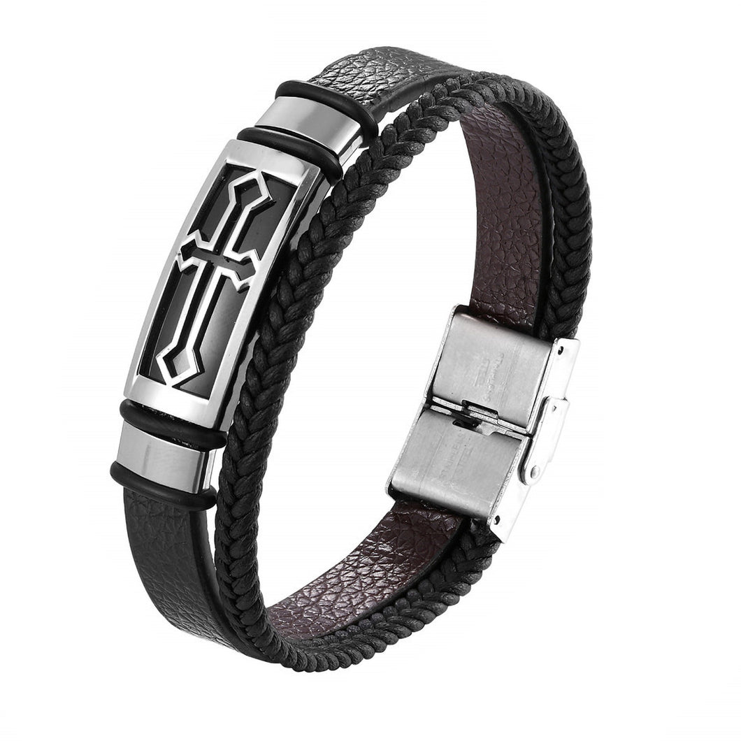 GUNGNEER Christian Cross Bracelet Leather Multilayer Christ Jewelry Accessory For Men Women