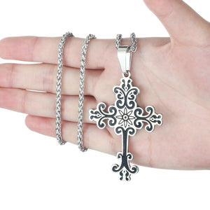 GUNGNEER Stainless Steel Cross Necklace Christian Pendant Jewelry Gift For Men Women