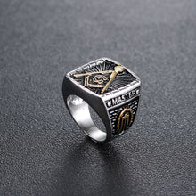 Load image into Gallery viewer, GUNGNEER Retro Freemason Ring Multi-size Stainless Steel Men's Mason Ring Accessories