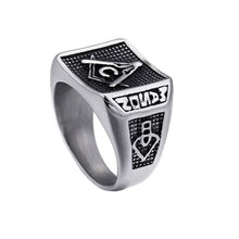 Load image into Gallery viewer, GUNGNEER Masonic Ring Multi-size Stainless Steel Freemason Biker Ring For Men