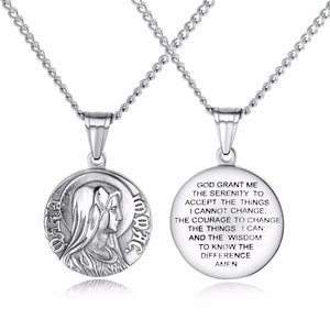 GUNGNEER Virgin Mary Round Stainless Steel Pendants Necklaces Chain Jewelry for Men Women